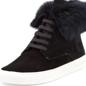 Vince nyack black sneakers with rabbit fur